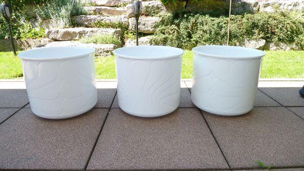 3 große weiße Keramik Blumentöpfe
