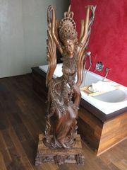 Holzfigur Teakholz Handarbeit hinduistische Göttin
