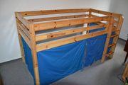 Kinder-Hochbett mit Leiter Kiefer massiv