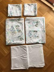 Bettwäsche Blümchenmuster Kissenbezüge Leinentücher Deckenbezüge