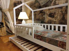 Laufställe, Hochstühle, Zubehör - Hausbett Doppelbett aus Holz für