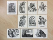 Postkarten mit Radierungen u Lithographien