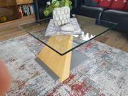 Design Couchtisch quadratisch Glas Holz