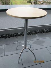 Stehtisch runde beige Tischplatte mit