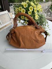 Neue Leder Damenhandtasche Beige Braun