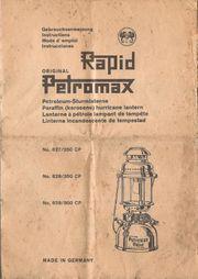 PDF Gebrauchsanleitung Petromax Rapid HK500
