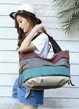 Taschen, Koffer, Accessoires - Mehrfarbige Canvas-Hobo-Tasche Handtasche Schultertasche lässig