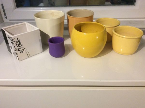 7St.Blumentöpfe Set Gelb,Lila,Orange,Ceme,Schwarz,Weiß eckig rund in ...