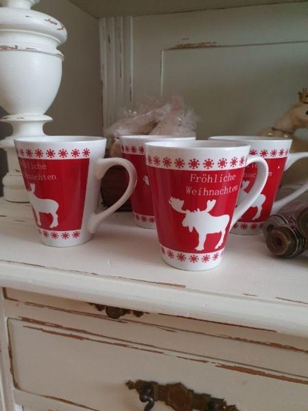 4 Kaffeebecher im Landhausstil