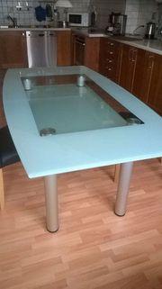 Tisch mit doppelter Glasplatte Eis-