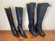 2x 2 Paar schwarze Frauen-Stiefel-Leder