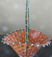 Osterkörbchen mit Bügel geflochten orange