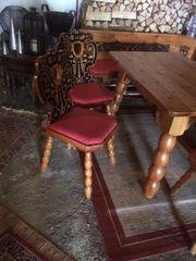 Zirbeneckbank Tisch mit 3 Stühlen