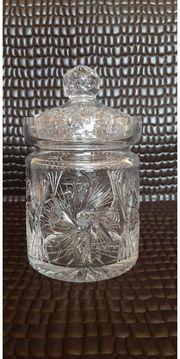 alte Bleikristall Bonboniere Schleuderstern