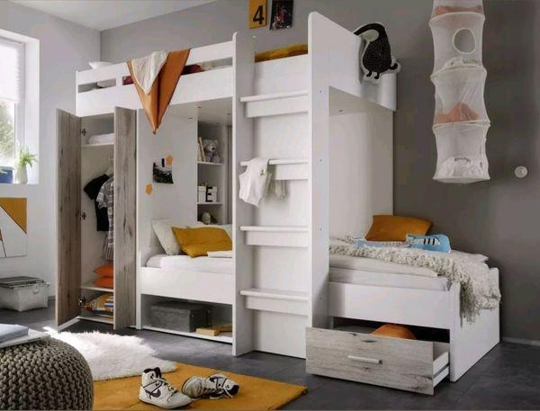 Etagenbett Für 2 Kinder : Hochbett etagenbett bett 2 x 90x200 cm kinderzimmer weiss sandeiche