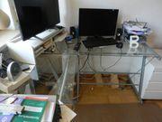 Edler Eck-Schreibtisch aus Glas und