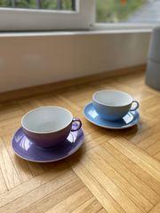 Tassenset in blau und lila -