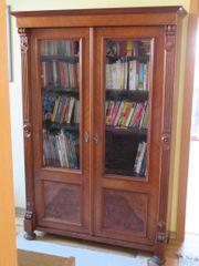 Biedermeier Holzschrank - Bücherschrank -