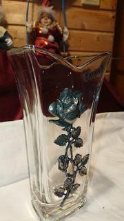 Vase Kristall Glas mit Zinn