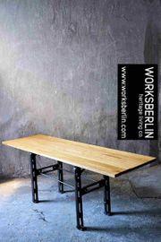 Großer vintage Fabriktisch industrieller Tisch
