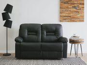 2-Sitzer Sofa Kunstleder schwarz verstellbar