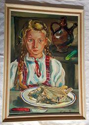 Gemälde Mädchen Fisch Tempera Vegan