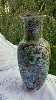 Asiatika Chinesische alte Vase Pfau