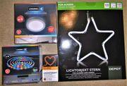 LED-Stern Ø30cm LED-Deckenleuchte LED-farbiges Lichtband