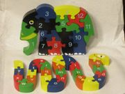 TCM Holzpuzzle Zahlen Elefant Buchstaben