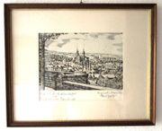 Original-Radierung Karl Geitz Bruchsal Peterskirche