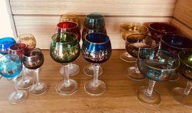 Glas, Porzellan antiquarisch - Weingläser Likörgläser Sektschalen
