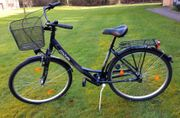 City-Fahrrad mit Korb Shimano-Schaltung - metallicblau-neuwertig