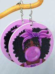 Ohrringe Große Holzräder Ballon Gummi