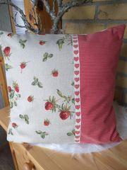 Erdbeer Kissenhülle Kissenbezug Garten Landhaus