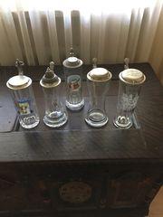 Bierkrüge Glas mit Zinndeckel 5