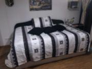 Bettüberwurf schwarz weiß mit 4