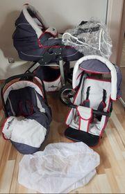 Bergsteiger Kinderwagen Capri grey red