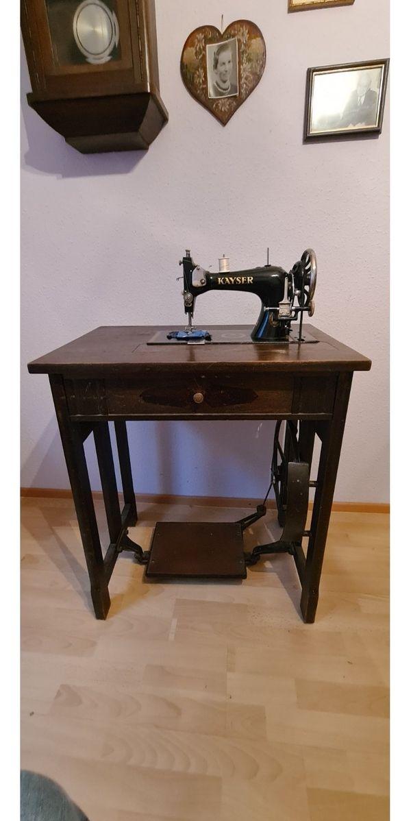 antike Nähmaschine von Kayser Durlach Modell L