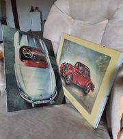 Glasbilderrahmen mit Automotiven 2 Stück