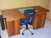 Schreibtisch 162x64x79cm Jugend Mahagoni Handwerk
