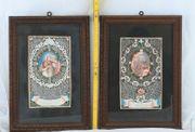 2x Heiligendarstellungen auf Papier um