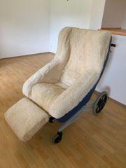 Rollstuhl mit Fell