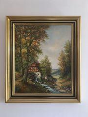 Gemälde Landschaft Alte Mühle W