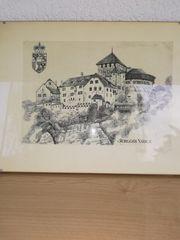 Original Litho Schloss Vaduz
