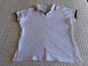 Shirt mit Polokragen Rippenshirt weiß