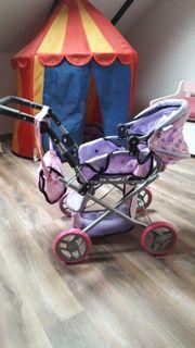 Puppenwagen Babywagen mit Tragetasche