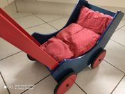 Haba Puppenwagen Holz Blau Rot