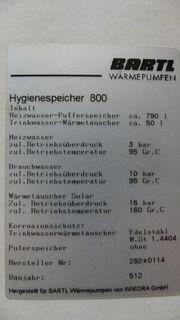 WIKORA Pufferspeicher Hygienespeicher 800 für