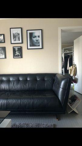 Polster, Sessel, Couch - hochwertiges Ledersofa in schwarz