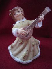 Engel mit Mandoline Antik-blau von
